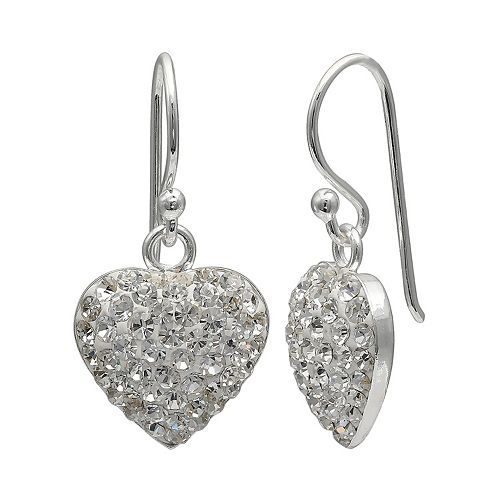 PRIMROSE Sterling Silver Pave Crystal Heart Drop Earrings