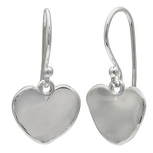 PRIMROSE Sterling Silver Hammered Heart Drop Earrings