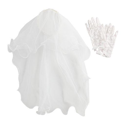 Girls 4-6 Communion Headband Veil & Lace Gloves Set