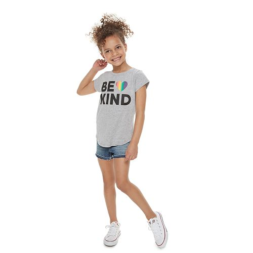 "Girls 4-7 Family Fun™ ""Be Kind"" Rainbow Pride Graphic Tee"