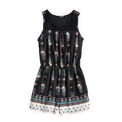 e0fd53e12f3 Girls Mudd® Crochet Yoke Sleeveless Romper. Navy Tropical Turquoise Stripe  Black ...