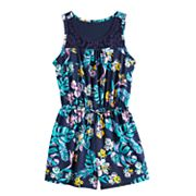 Girls Mudd® Crochet Yoke Sleeveless Romper