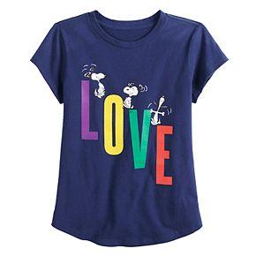 "Girls 4-7 Family Fun? Peanuts Snoopy ""Love"" Graphic Tee"