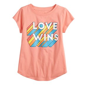 "Girls 4-7 Family Fun? ""Love Wins"" Rainbow Pride Graphic Tee"