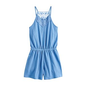 Girls 7-16 & Plus Size Mudd Crinkle Lace Romper