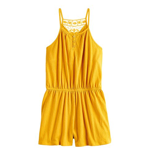 Girls 7-16 & Plus Size Mudd® Crinkle Lace Romper