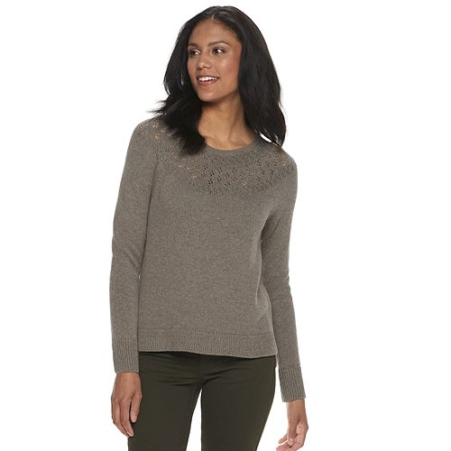 Petite SONOMA Goods for Life™ Embellished Yoke Crewneck Sweater
