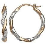 PRIMROSE Two Tone Sterling Silver Cubic Zirconia Twisted Hoop Earrings