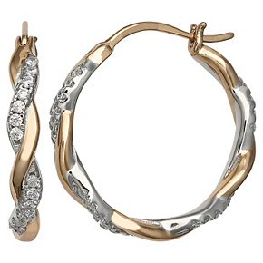 PRIMROSE Two Tone Sterling Silver Cubic Zirconia Twisted Hoop Earrings