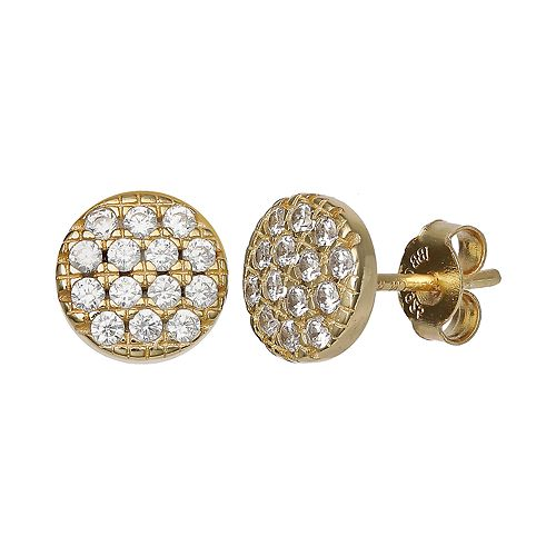 PRIMROSE 18k Gold Over Silver Cubic Zirconia Pave Disc Stud Earrings