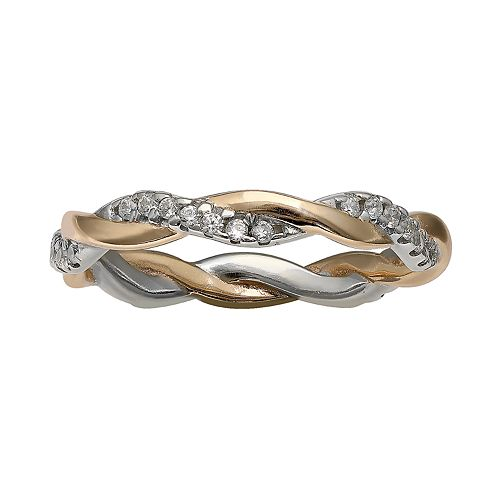 PRIMROSE Two Tone Sterling Silver Cubic Zirconia Braided Ring