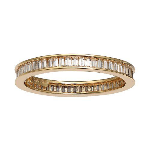PRIMROSE 18k Gold Over Silver Cubic Zirconia Baguette Ring
