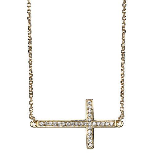 PRIMROSE 18k Gold Over Silver Cubic Zirconia Sideways Cross Necklace