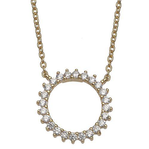 PRIMROSE 18k Gold Over Silver Open Circle Cubic Zirconia Pendant Necklace