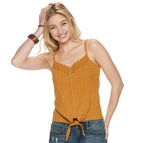 Juniors' Mudd® Crocheted Button Front Tank Top
