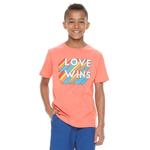 "Boys 8-20 Family Fun™ ""Love Wins"" Rainbow Pride Graphic Tee"