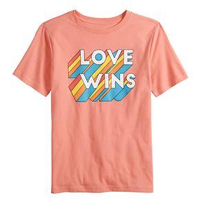 "Boys 8-20 Family Fun? ""Love Wins"" Rainbow Pride Graphic Tee"