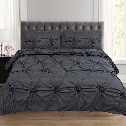 Sweethome Collection Tatiana Ruched Fancy Ribbed Lattice Duvet Cover Set