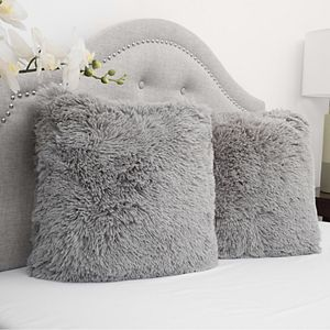 SweetHome Collection 2-pack Very Soft & Comfy Plush Long Faux Fur Throw Pillows