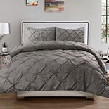 Sweethome Collection Luxury Pinch Pleat Pintuck Duvet Cover & Pillow Sham Set