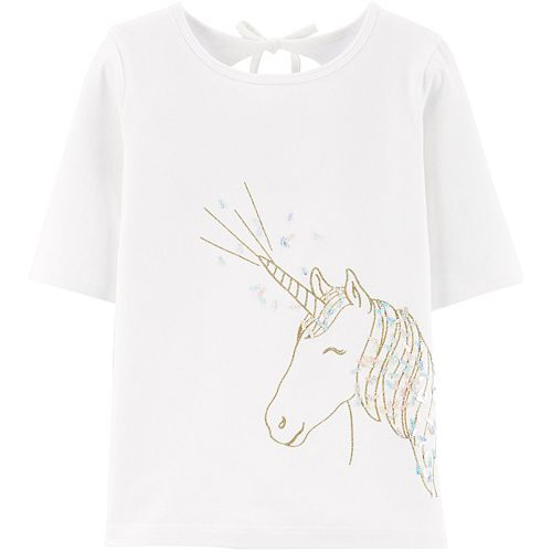 Girls 4-12 Carter's Glitter Unicorn Jersey Tee