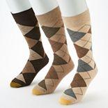 Men's GOLDTOE 3-pack Carlyle Argyle Crew Fashion Socks