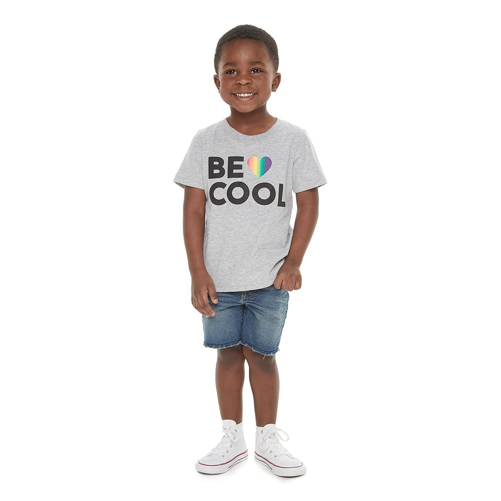 """Todder Boy Family Fun™ """"Be Cool"""" Rainbow Pride Graphic Tee"""