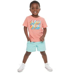 "Todder Boy Family Fun? ""Love Wins"" Rainbow Pride Graphic Tee"