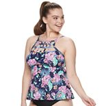 Plus Size Mix and Match Cage-Front High-Neck Tankini Top