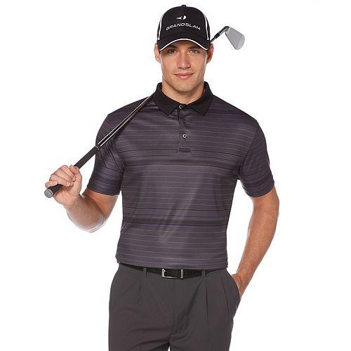 Big & Tall Grand Slam Dri-Flow Striped Performance Golf Polo