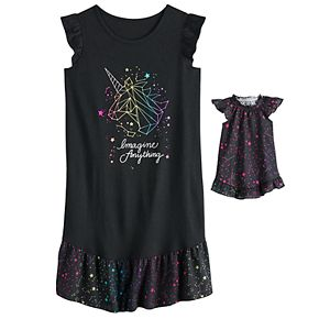 Girls 4-14 SO® Ruffled Dorm Nightgown & Matching Doll Gown