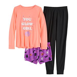 Girls 4-14 & Plus Size SO® Top, Shorts & Pants Pajama Set