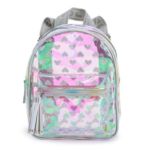 OMG Accessories Iridescent Glitter Hearts Hologram Mini Backpack