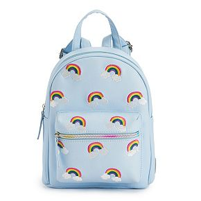 OMG Accessories Embroidered Rainbow Mini Backpack
