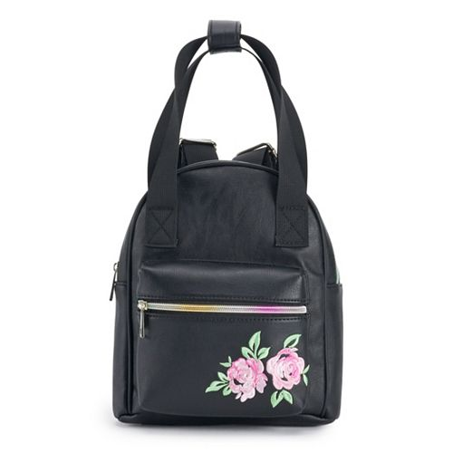 OMG Accessories Embroidered Rose Tote & Mini Backpack