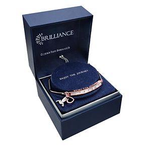"Brilliance ""Enjoy The Journey"" Two-Tone Bar Bracelet with Swarovski Crystals"