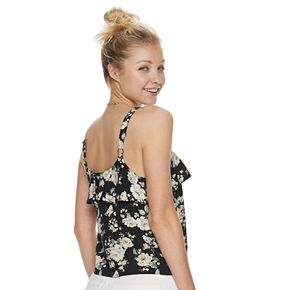 Juniors' Crave Fame Ruffle Tie-front Tank