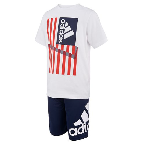 Boys 4-7x adidas Americana Flag Graphic Tee & Shorts Set