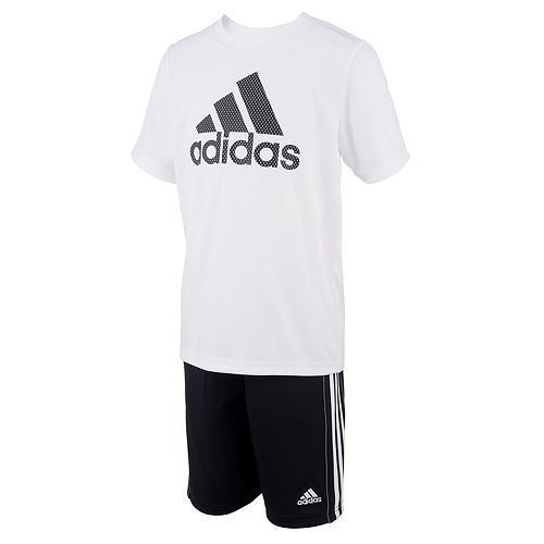 Boys 4-7x adidas Logo Mesh Logo Graphic Tee & Shorts Set