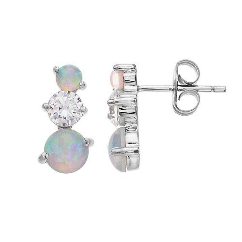 Opalescent Sterling Silver Simulated Opal Drop Earrings