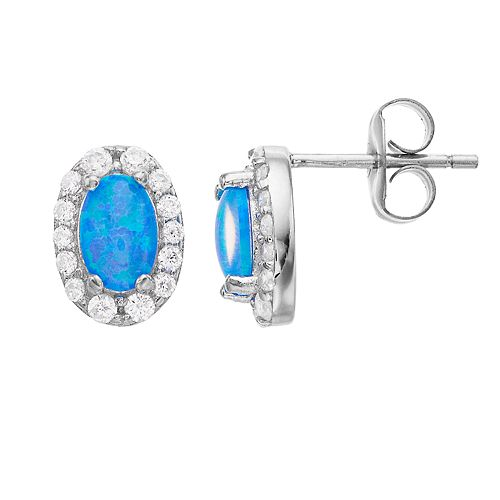 Opalescent Sterling Silver Simulated Opal & Cubic Zirconia Halo Stud Earrings