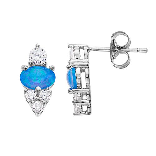 Opalescent Sterling Silver Simulated Opal & Cubic Zirconia Drop Earrings
