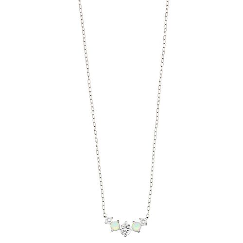 Opalescent Sterling Silver Simulated Opal & Cubic Zirconia Cluster Necklace