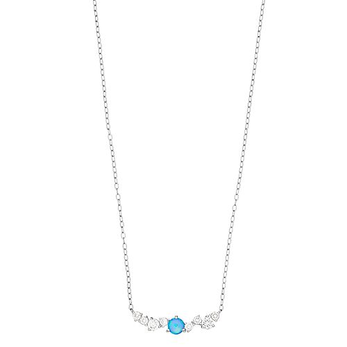 Opalescent Sterling Silver Simulated Blue Opal & Cubic Zirconia Necklace