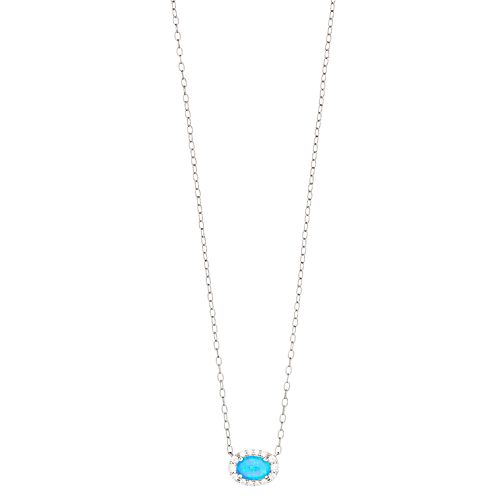 Opalescent Sterling Silver Simulated Opal & Cubic Zirconia Halo Necklace