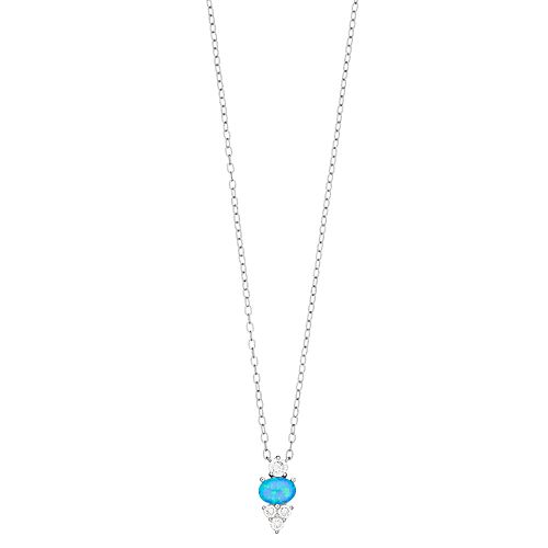 Opalescent Sterling Silver Simulated Blue Opal & Cubic Zirconia Pendant Necklace
