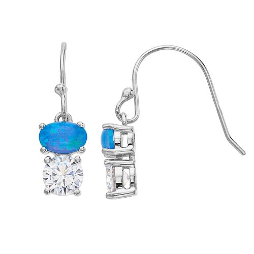 Opalescent Sterling Silver Simulated Blue Opal & Cubic Zirconia Double Drop Earrings