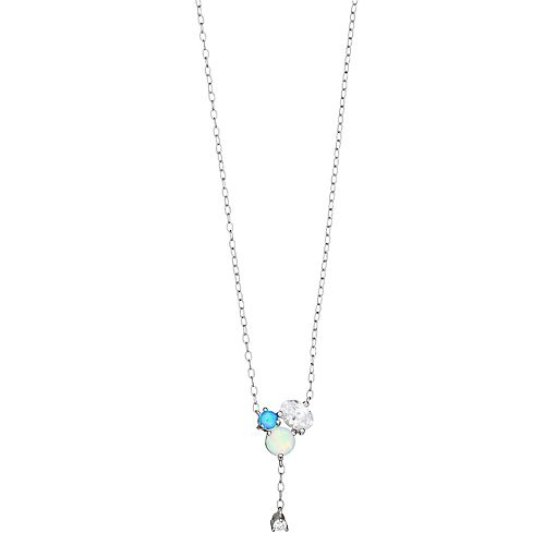 Opalescent Sterling Silver Simulated Blue Opal & Cubic Zirconia Y Necklace