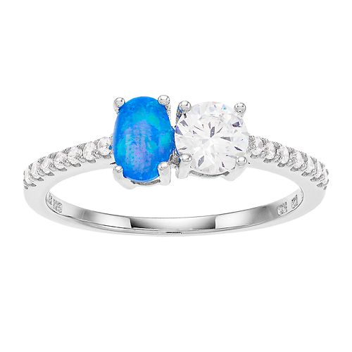 Opalescent Double Stone Cubic Zirconia Ring
