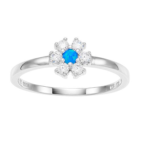 Opalescent Cubic Zirconia Flower Ring
